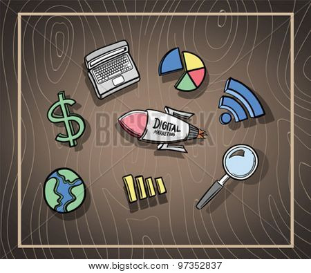 Coloured digital marketing icons vector against wooden background