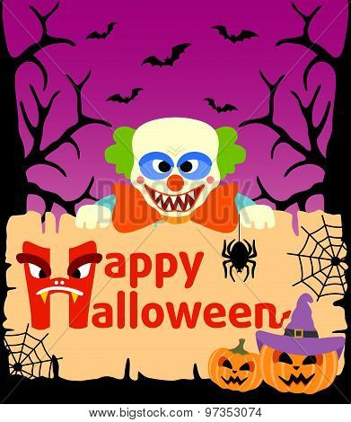 Halloween Background With Clown Vector