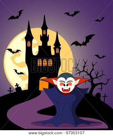 Halloween Background With Dracula