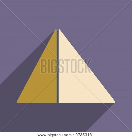 Flat with shadow icon and mobile application pyramids Egypt