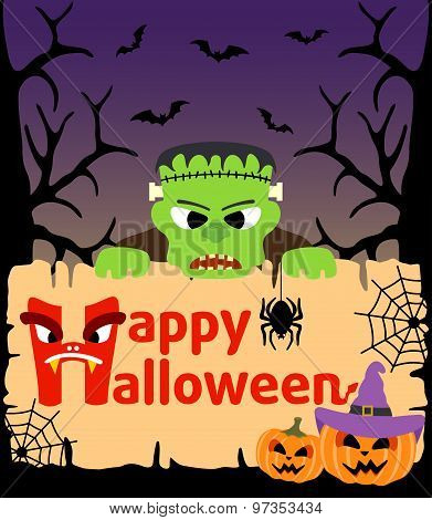 Halloween background with  Frankenstein vector