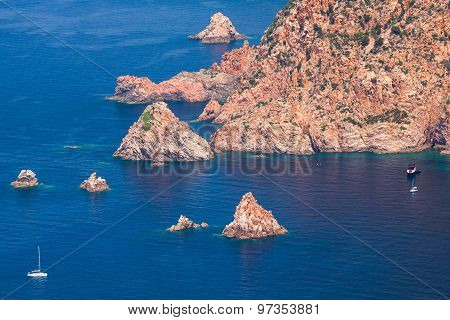 Coastal Landscape Of Corsica Island With Rocks