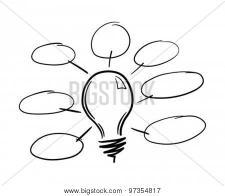 Digitally generated Light bulb flowchart vector