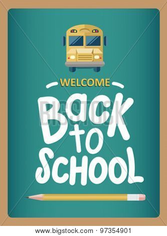 Welcome back to school message with icons vector on green chalkboard
