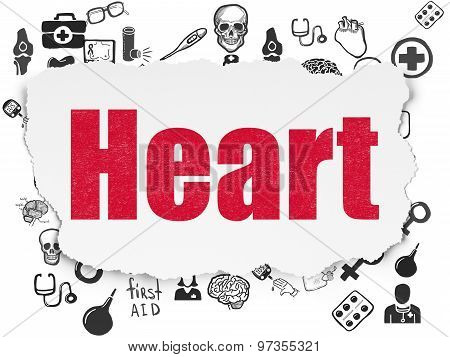 Medicine concept: Heart on Torn Paper background