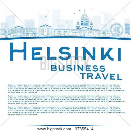Outline Helsinki skyline and copy space. Business travel concept. Vector Illustration