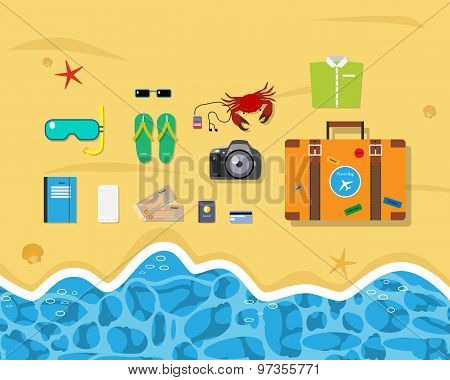 Beach set of things for a trip to the sea at the weekend. Vector illustration