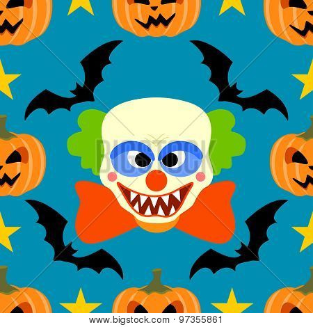 Seamless  halloween background with Clown