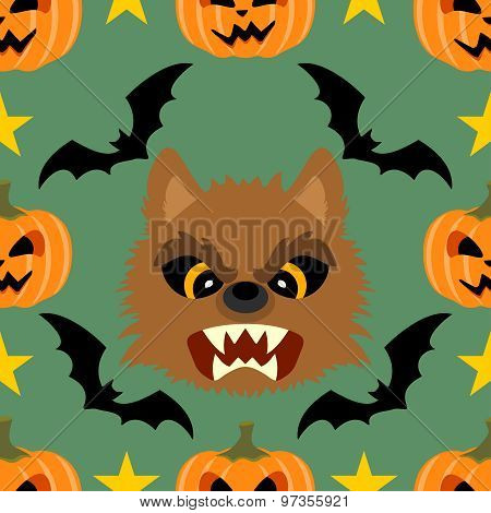Seamless  Halloween Background With Werewolf