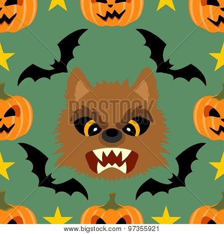 Seamless  Halloween Background With Werewolf
