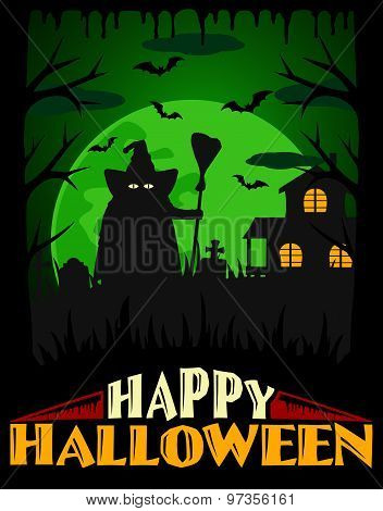 Scary Halloween background green