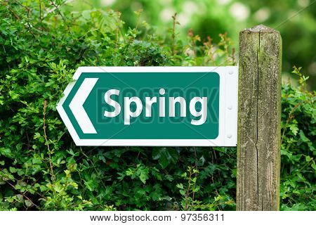 Direction Arrow, Sign To Spring In Green Color