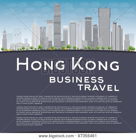 Hong Kong skyline with blue sky, taxi and copy space. Business travel concept. Vector illustration