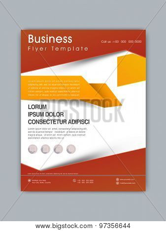 Professional business flyer, template or brochure design with web icons.