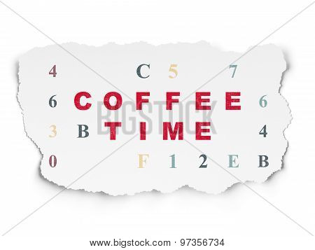 Time concept: Coffee Time on Torn Paper background