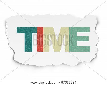 Timeline concept: Time on Torn Paper background