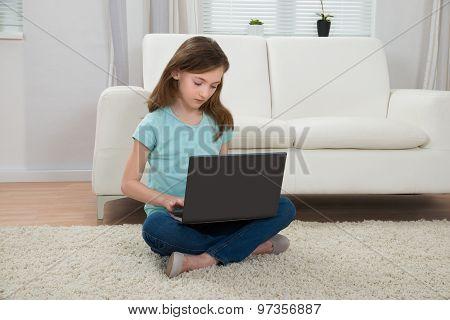 Girl Using Laptop In Living Room