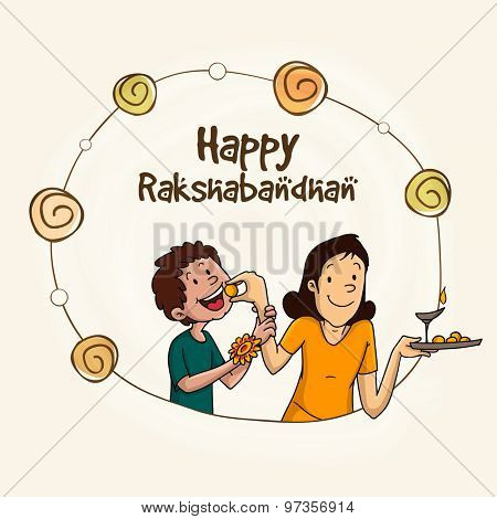 Stylish frame with illustration of cute little brother and sister celebrating Raksha Bandhan festival.