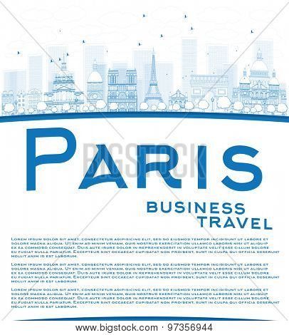 Outline Paris skyline with blue landmarks and copy space. Business travel concept. Vector illustration