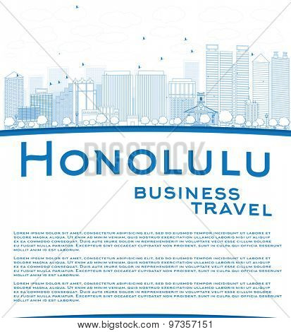 Outline Honolulu Hawaii skyline with blue buildings and copy space. Business travel concept. Vector illustration