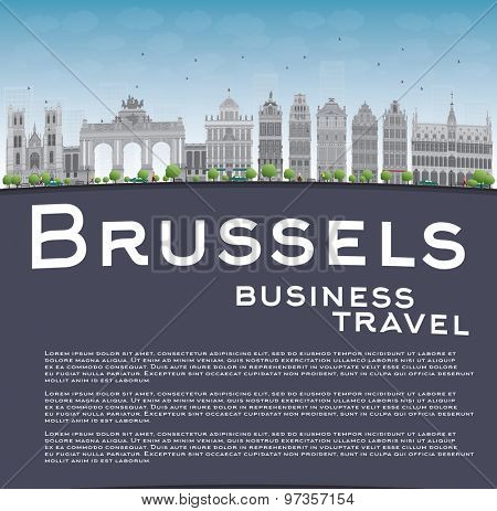 Brussels skyline with grey building, blue sky and copy space. Business travel concept. Vector illustration