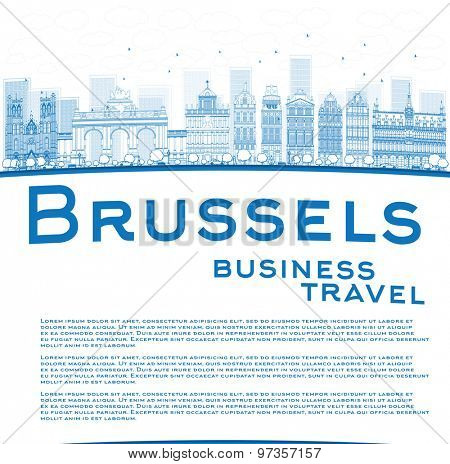 Outline Brussels skyline with blue building and copy space. Business travel concept. Vector illustration