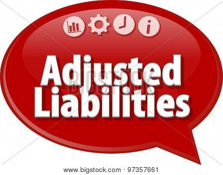 Speech bubble dialog illustration of business term saying Adjusted Liabilities