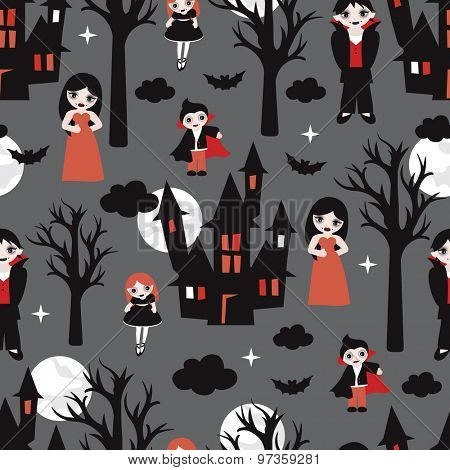 Seamless halloween vampires theme with vampire family haunted castle bat and full moon illustration background pattern in vector