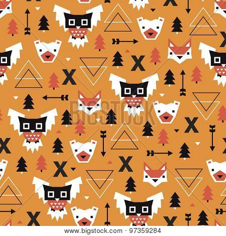 Seamless halloween geometric arrow owls and animals orange illustration background pattern in vector