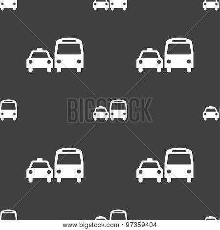 Taxi Icon Sign. Seamless Pattern On A Gray Background. Vector