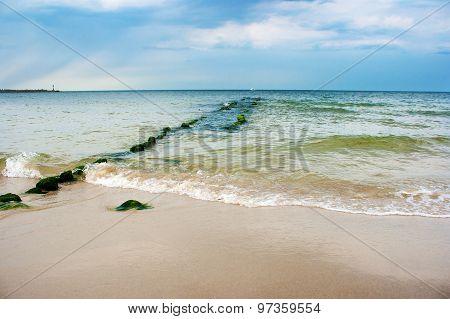 Beach With Breakwater