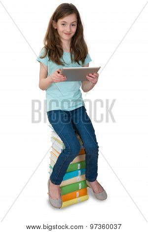 Girl With Digital Tablet Sitting On Books