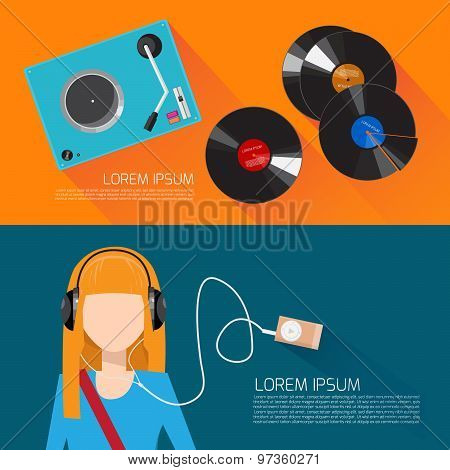 Music flat vector illustration