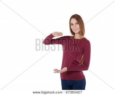 Girl Holding An Imaginary Large Board
