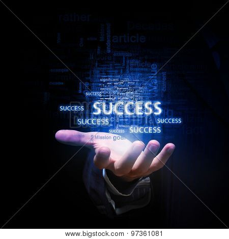 Close up of businessman hand presenting business success concept