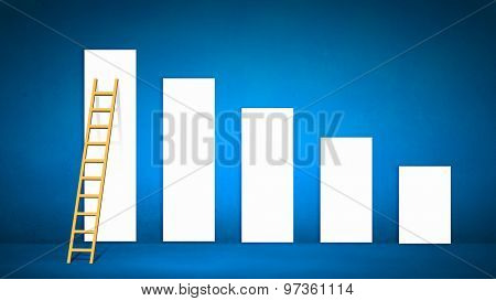 Conceptual image with ladder reaching increasing graph