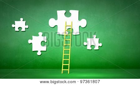 Conceptual image of ladder leading to puzzle element