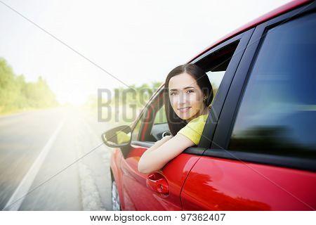 Beautiful woman in a car.