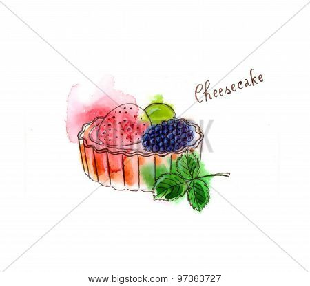 Watercolor Cheescake With Fruits