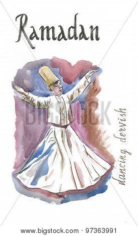 Watercolor Dancing Dervish, Ramadan
