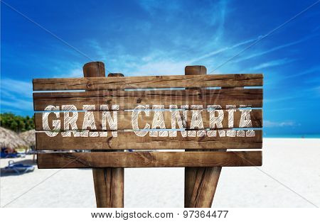 Gran Canaria wooden sign on the beach