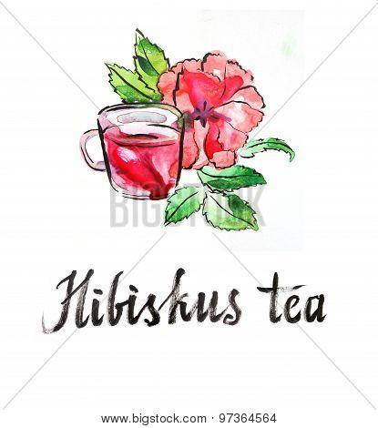 Watercolor Hibiscus Tea