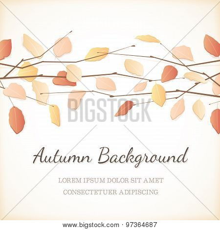 Elegant Background With Autumn Leaves At The Top