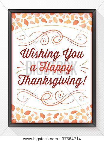 Thanksgiving Greeting Card With Autumn Leaves And A Black Frame