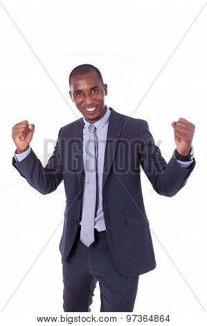 African American Business Man With Clenched Fist Over White Background - Black People