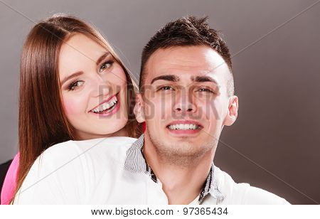 Portrait Of Smiling Woman And Man. Happy Couple.