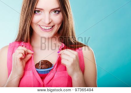 Funny Woman Holds Chocolate Cake On Chest