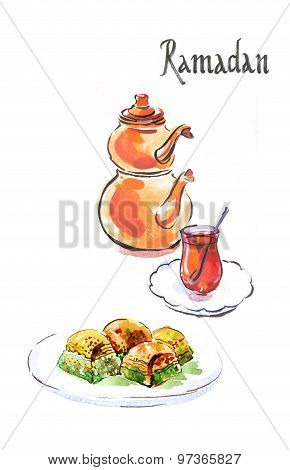 Watercolor Ramadan And Turkish Tea With Turkish Baklava
