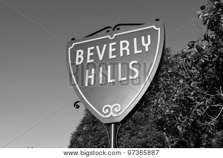 BEVERLY HILLS, CALIFORNIA, USA - September, 4th 2010:  The world famous Beverly Hills Shield sign in black and white