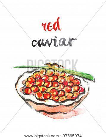 Watercolor Red Caviar